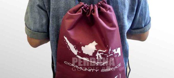 drawstring bag taslan merah maroon comunity service di tanjung duren Q3626